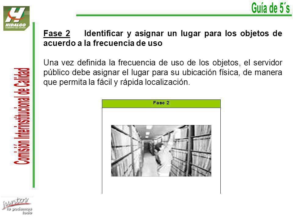 Guía de 5´s Fase 2 Identificar y asignar un lugar para los objetos de acuerdo a la frecuencia de uso.