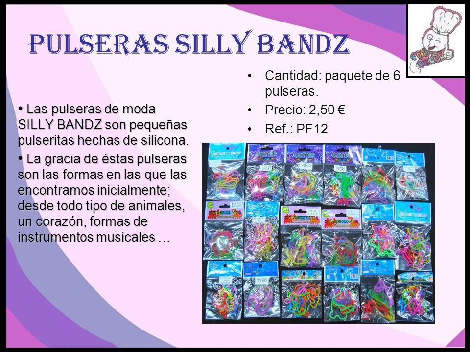 Pulseras Silly Bandz Cantidad: paquete de 6 pulseras. Precio: 2,50 €