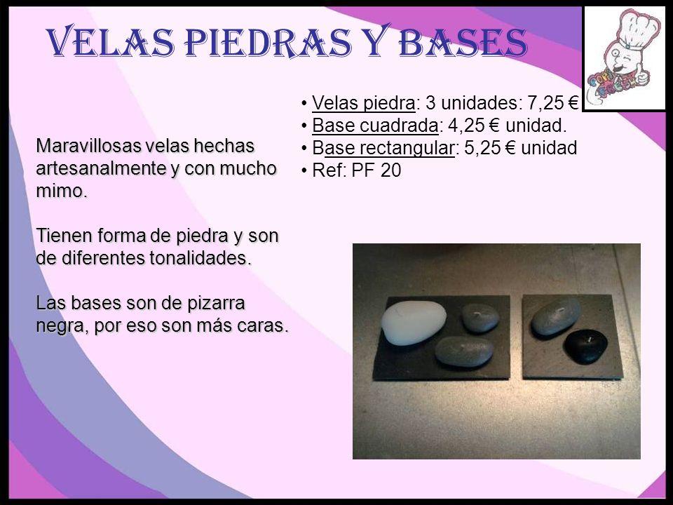 Velas piedras y bases Velas piedra: 3 unidades: 7,25 €