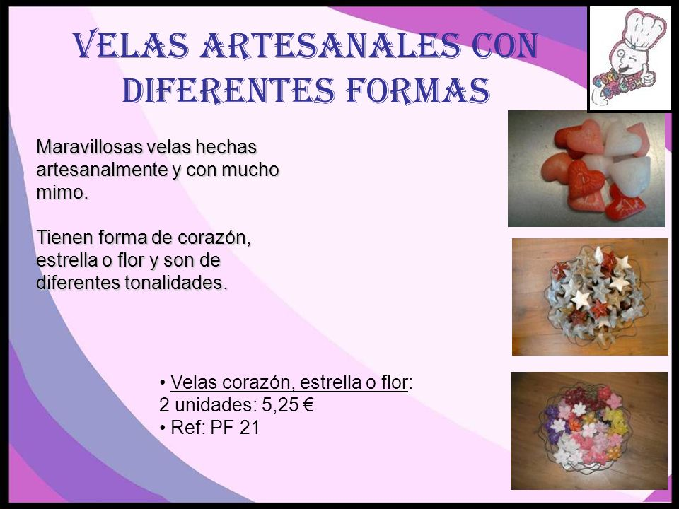 Velas artesanales con diferentes formas