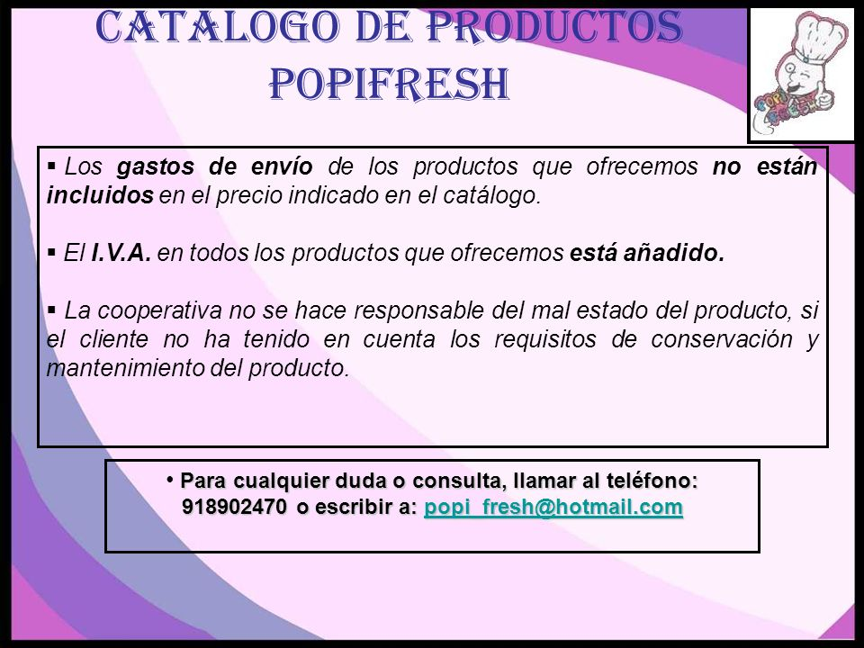 CATALOGO DE PRODUCTOS POPIFRESH