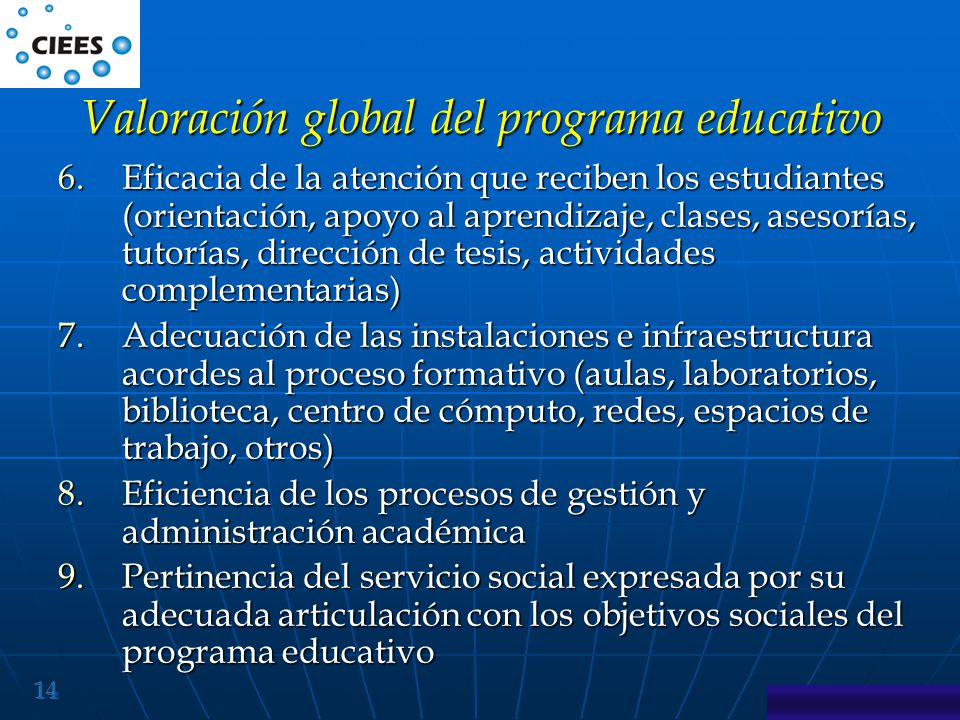 Valoración global del programa educativo