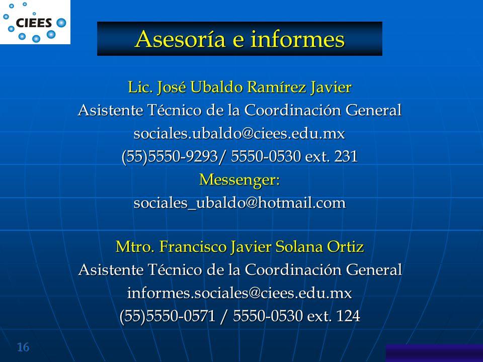 Asesoría e informes Lic. José Ubaldo Ramírez Javier