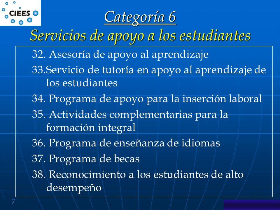 Categoría 6 Servicios de apoyo a los estudiantes
