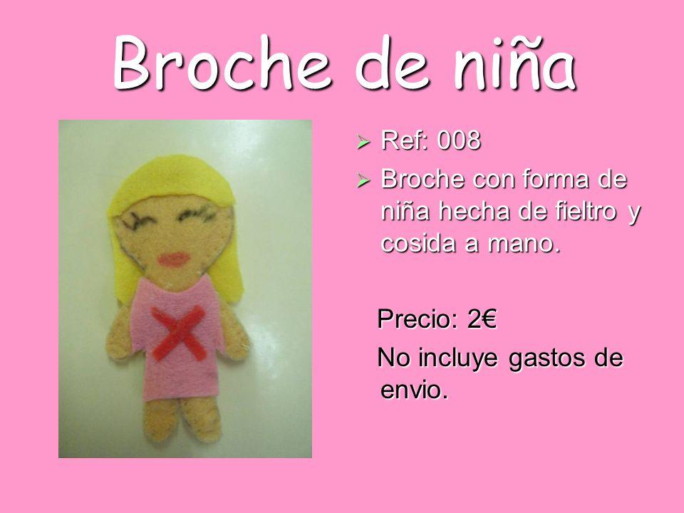 Broche de niña Ref: 008. Broche con forma de niña hecha de fieltro y cosida a mano.