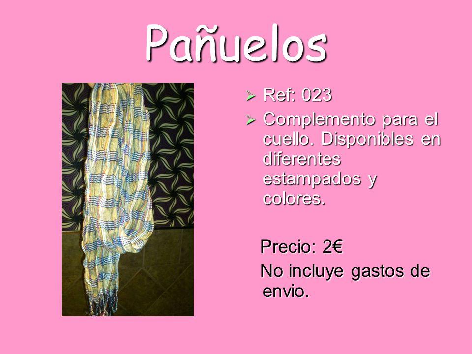 Pañuelos Ref: 023. Complemento para el cuello. Disponibles en diferentes estampados y colores. Precio: 2€