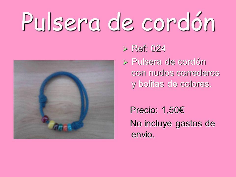 Pulsera de cordón Ref: 024. Pulsera de cordón con nudos correderos y bolitas de colores. Precio: 1,50€