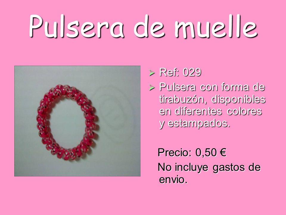 Pulsera de muelle Ref: 029. Pulsera con forma de tirabuzón, disponibles en diferentes colores y estampados.