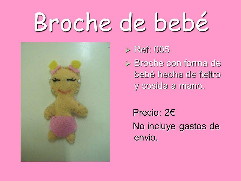 Broche de bebé Ref: 005. Broche con forma de bebé hecha de fieltro y cosida a mano.