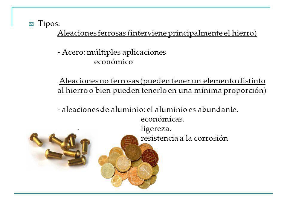 Tipos: Aleaciones ferrosas (interviene principalmente el hierro) - Acero: múltiples aplicaciones. económico.