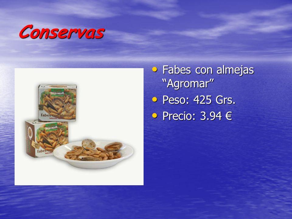 Conservas Fabes con almejas Agromar Peso: 425 Grs. Precio: 3.94 €
