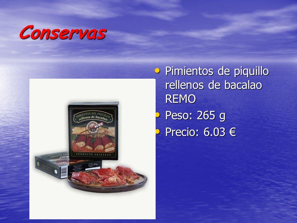 Conservas Pimientos de piquillo rellenos de bacalao REMO Peso: 265 g