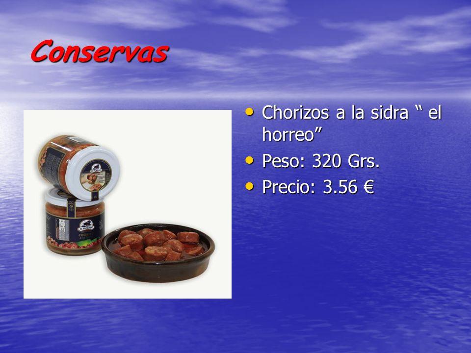 Conservas Chorizos a la sidra el horreo Peso: 320 Grs.