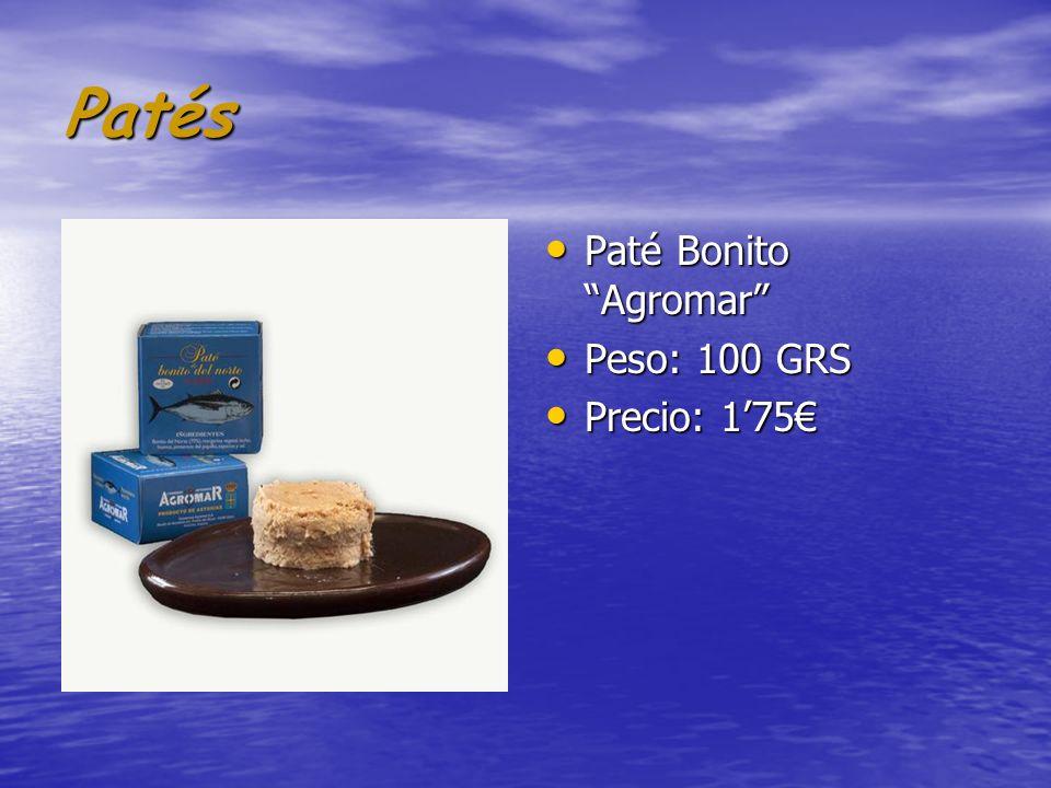 Patés Paté Bonito Agromar Peso: 100 GRS Precio: 1'75€