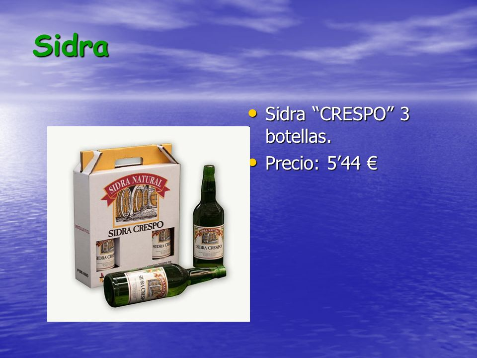 Sidra Sidra CRESPO 3 botellas. Precio: 5'44 €
