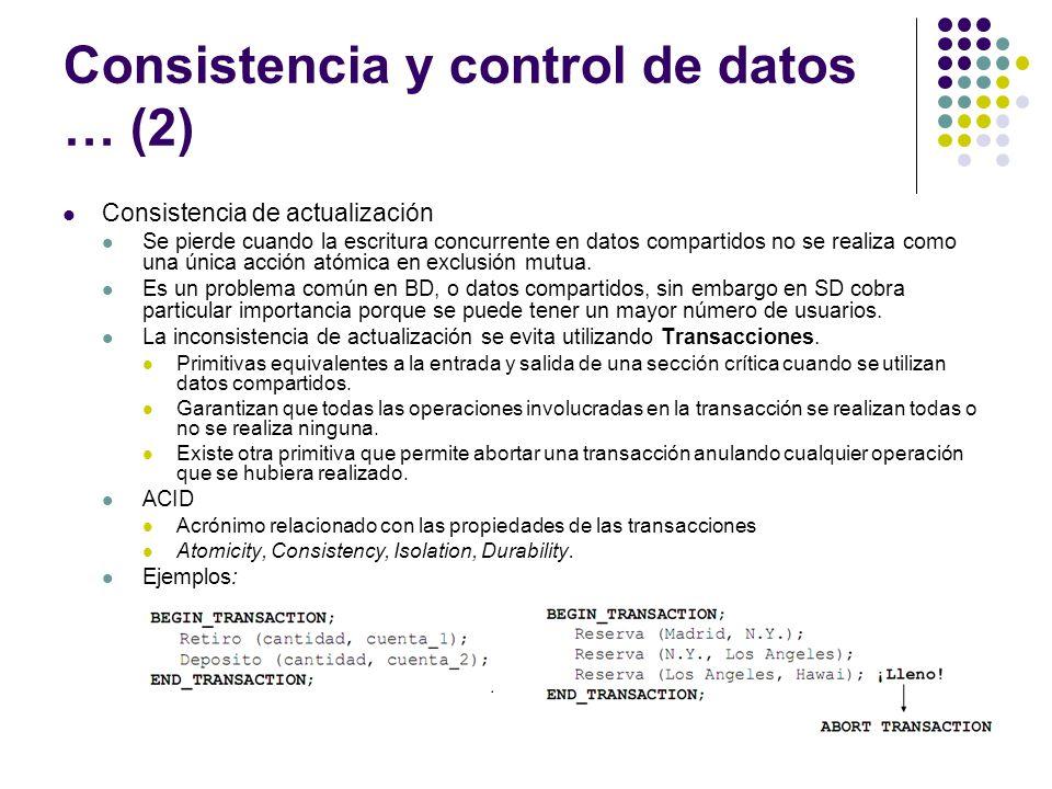 Consistencia y control de datos … (2)