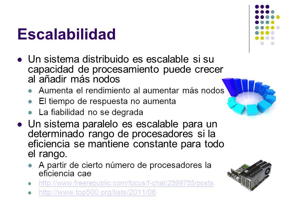 Escalabilidad Un sistema distribuido es escalable si su capacidad de procesamiento puede crecer al añadir más nodos.