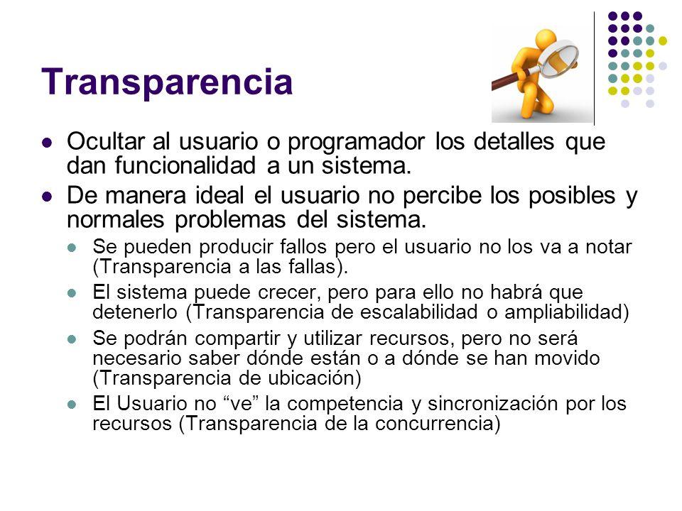 Transparencia Ocultar al usuario o programador los detalles que dan funcionalidad a un sistema.