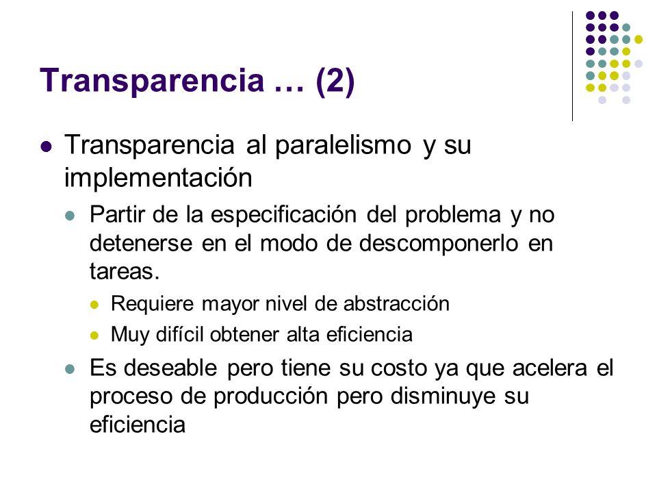 Transparencia … (2) Transparencia al paralelismo y su implementación