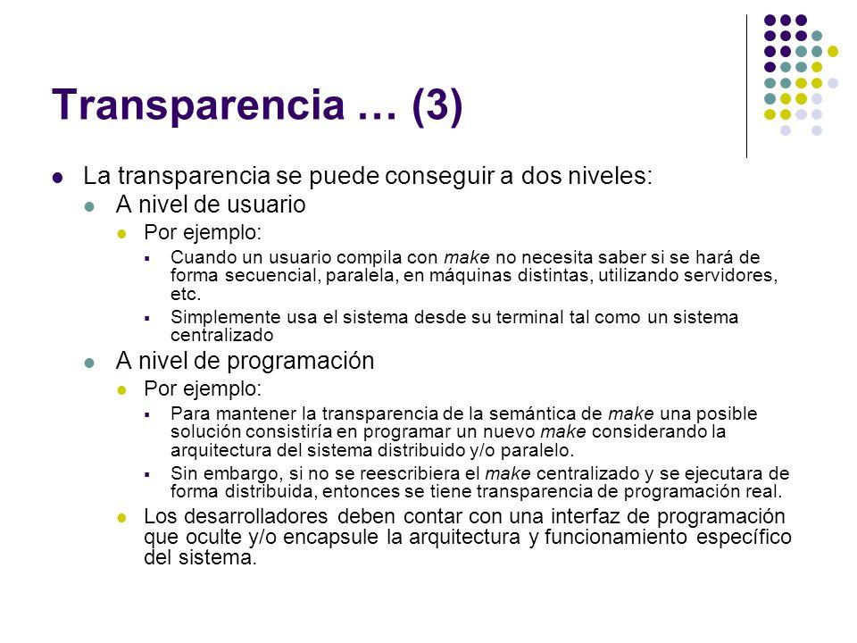 Transparencia … (3) La transparencia se puede conseguir a dos niveles: