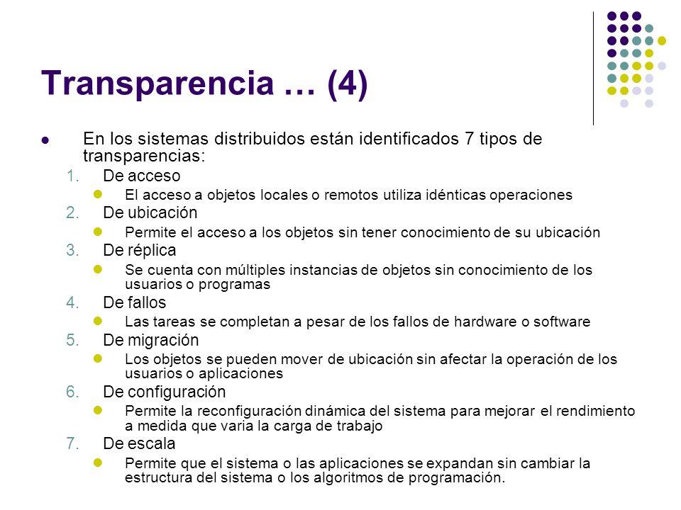 Transparencia … (4) En los sistemas distribuidos están identificados 7 tipos de transparencias: De acceso.