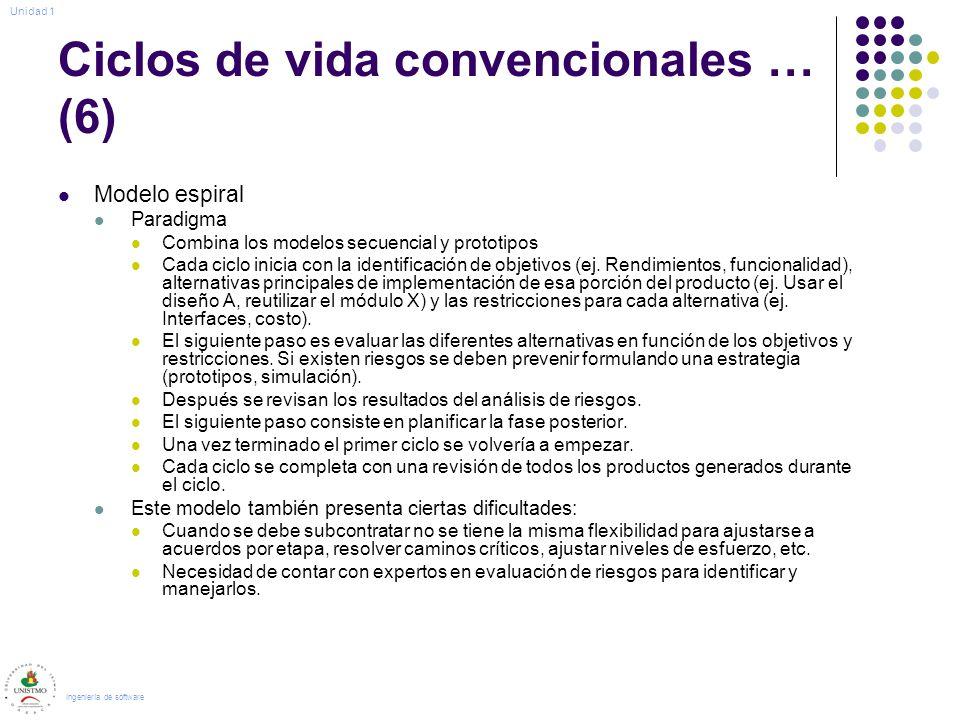 Ciclos de vida convencionales … (6)