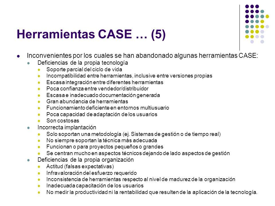 Herramientas CASE … (5) Inconvenientes por los cuales se han abandonado algunas herramientas CASE: Deficiencias de la propia tecnología.