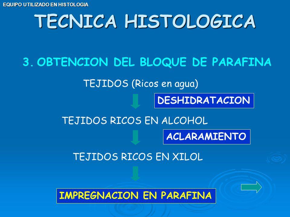 TECNICA HISTOLOGICA OBTENCION DEL BLOQUE DE PARAFINA