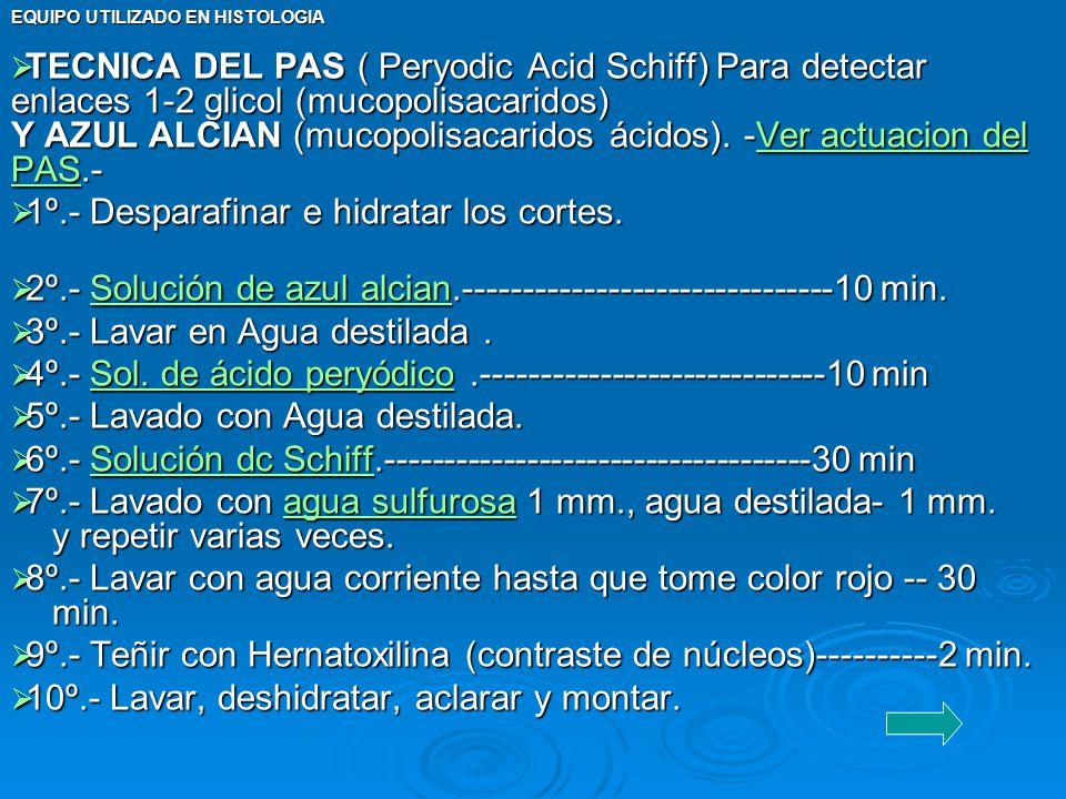 TECNICA DEL PAS ( Peryodic Acid Schiff) Para detectar enlaces 1-2 glicol (mucopolisacaridos) Y AZUL ALCIAN (mucopolisacaridos ácidos). -Ver actuacion del PAS.-