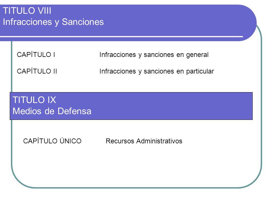 TITULO VIII Infracciones y Sanciones