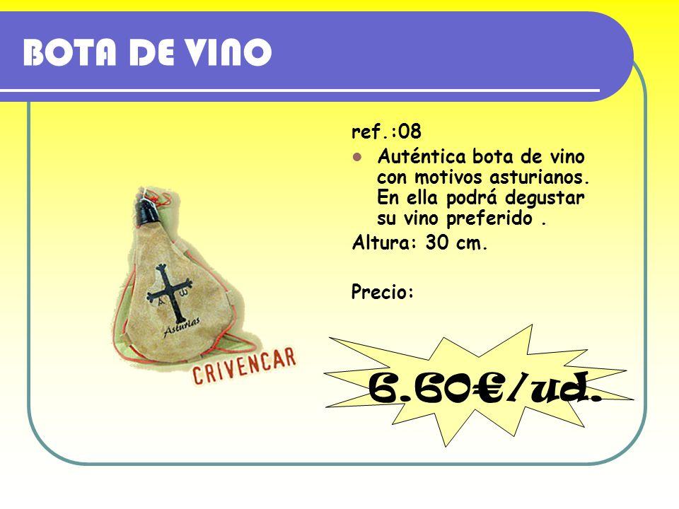 BOTA DE VINO ref.:08. Auténtica bota de vino con motivos asturianos. En ella podrá degustar su vino preferido .