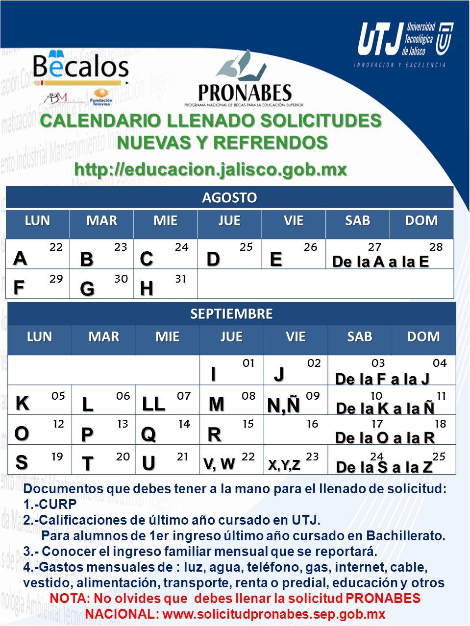 CALENDARIO LLENADO SOLICITUDES NUEVAS Y REFRENDOS