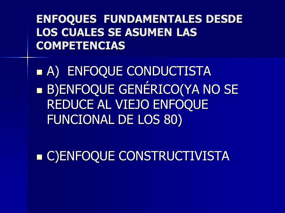 ENFOQUES FUNDAMENTALES DESDE LOS CUALES SE ASUMEN LAS COMPETENCIAS