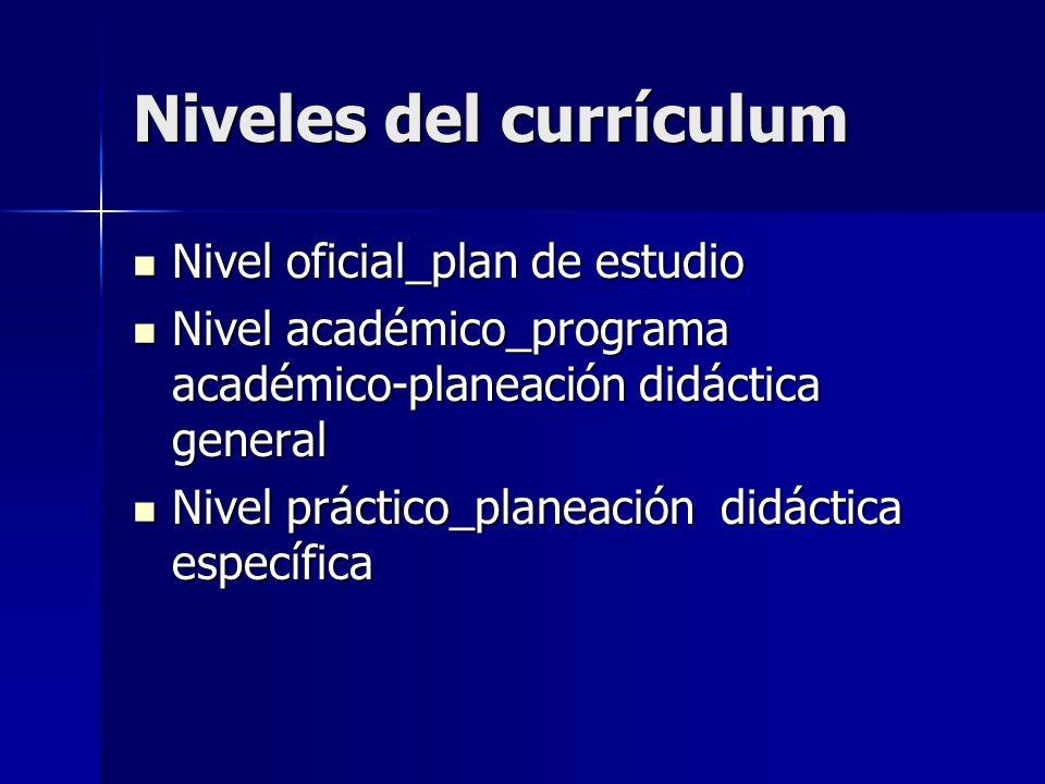 Niveles del currículum