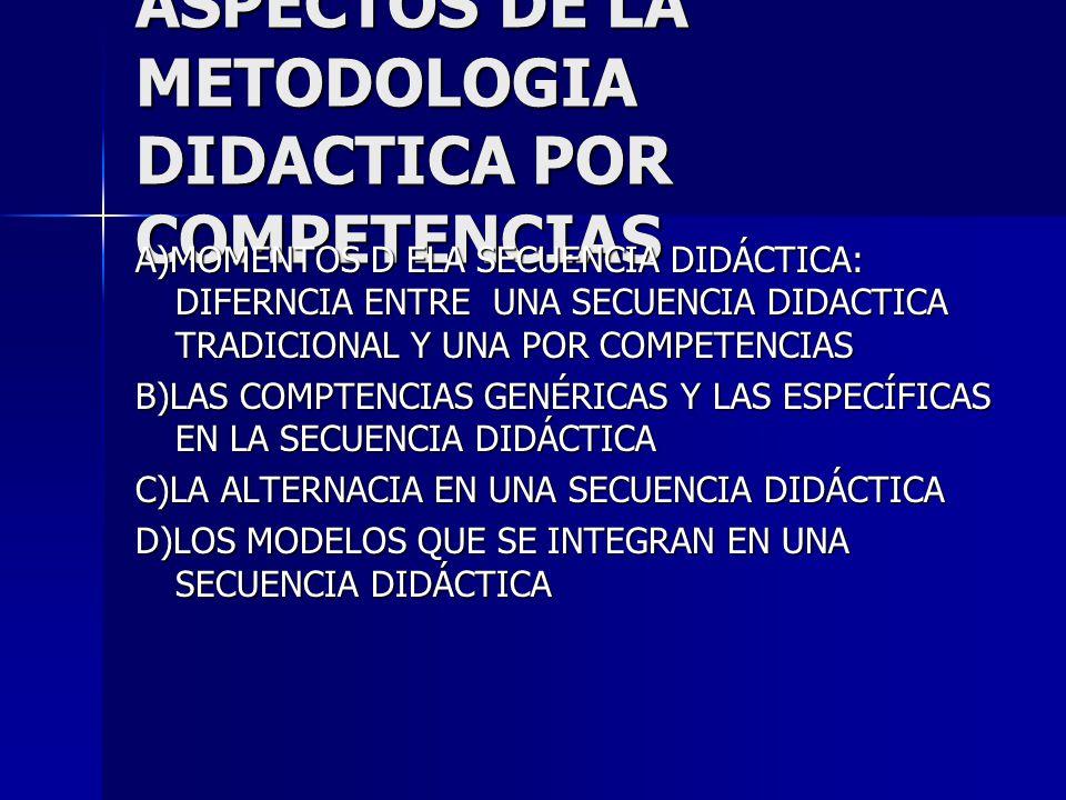 ASPECTOS DE LA METODOLOGIA DIDACTICA POR COMPETENCIAS