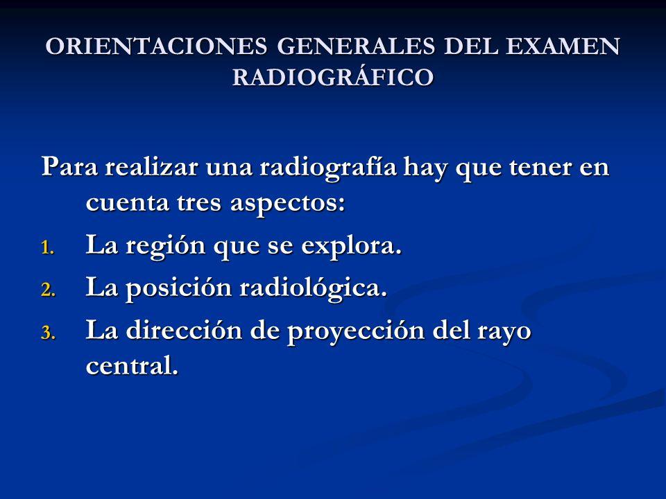 ORIENTACIONES GENERALES DEL EXAMEN RADIOGRÁFICO