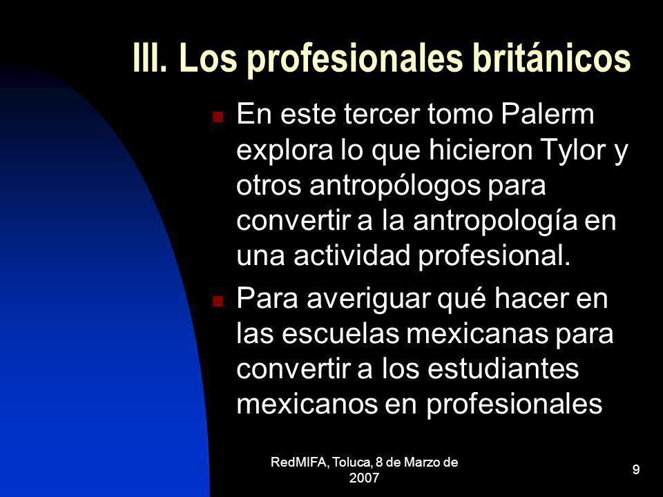 III. Los profesionales británicos