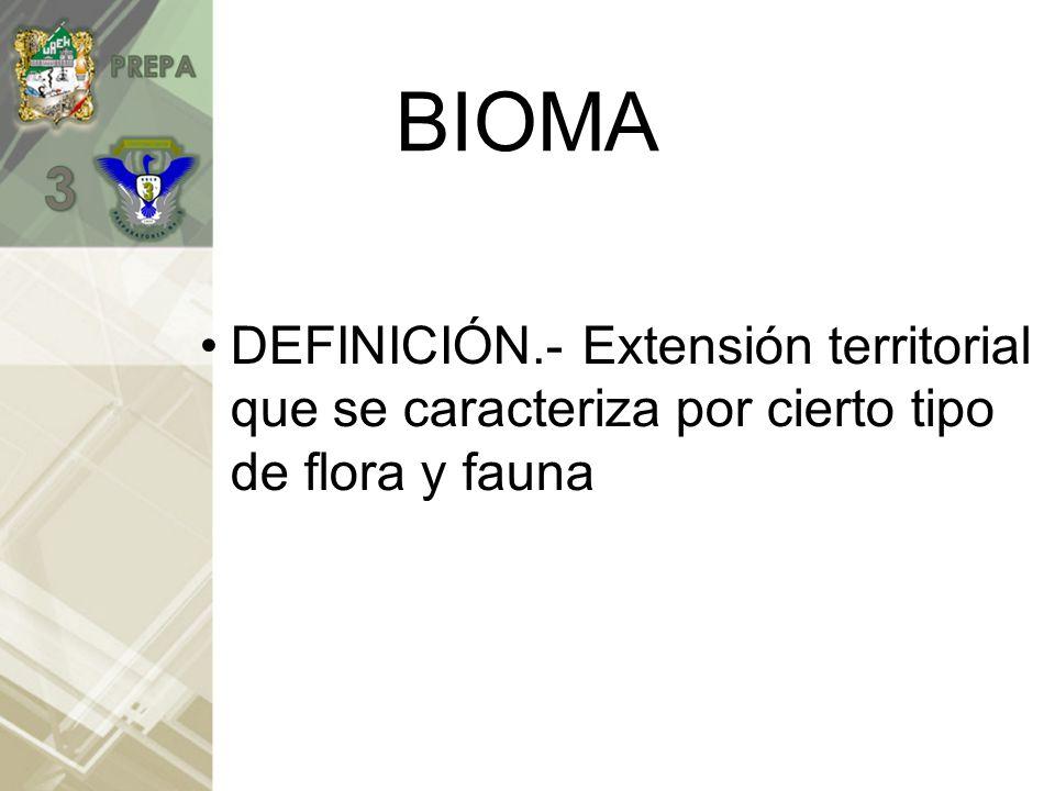 BIOMA DEFINICIÓN.- Extensión territorial que se caracteriza por cierto tipo de flora y fauna