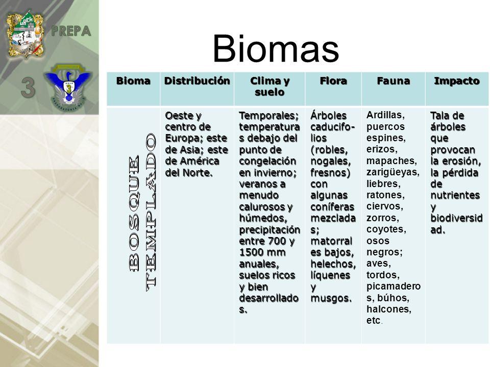 Biomas Bioma Distribución Clima y suelo Flora Fauna Impacto