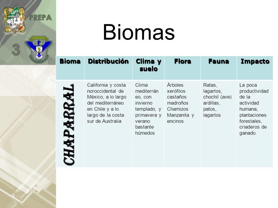 Biomas CHAPARRAL Bioma Distribución Clima y suelo Flora Fauna Impacto