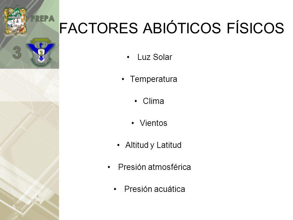 FACTORES ABIÓTICOS FÍSICOS
