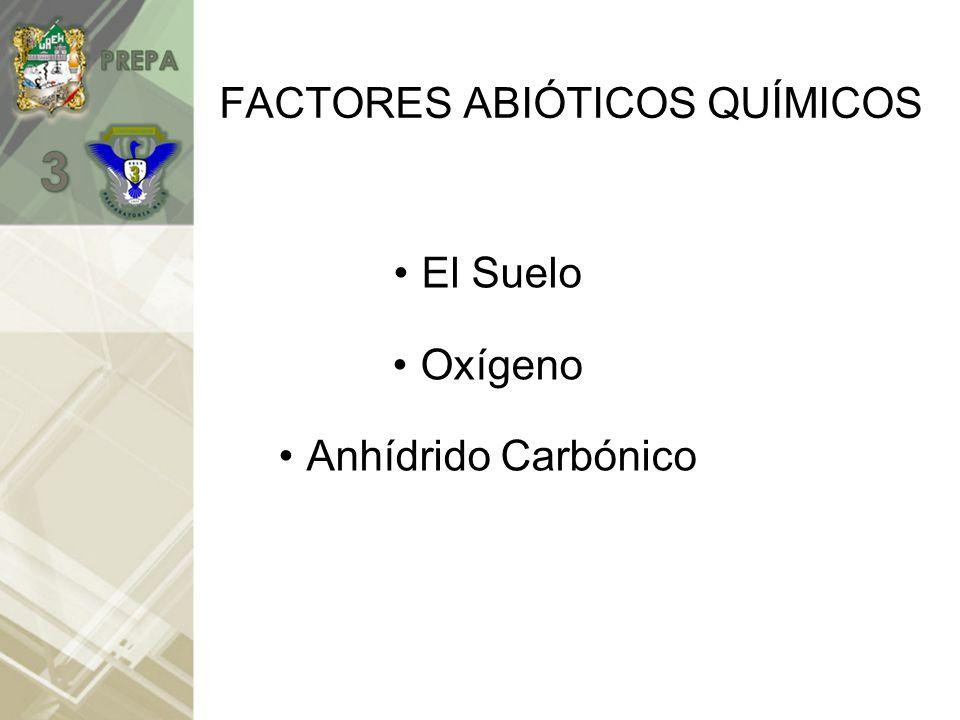 FACTORES ABIÓTICOS QUÍMICOS