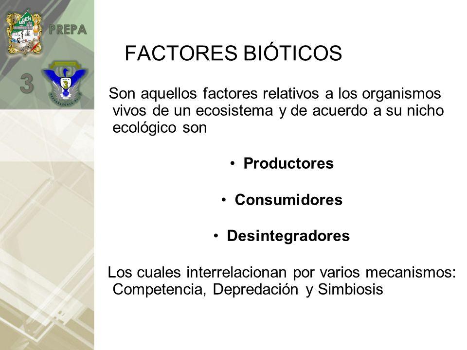 FACTORES BIÓTICOS Son aquellos factores relativos a los organismos vivos de un ecosistema y de acuerdo a su nicho ecológico son.