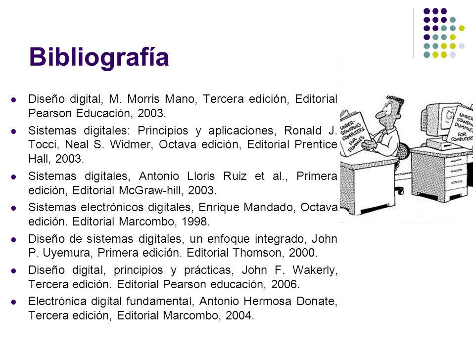 Bibliografía Diseño digital, M. Morris Mano, Tercera edición, Editorial Pearson Educación, 2003.
