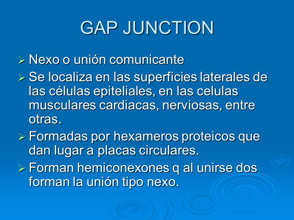 GAP JUNCTION Nexo o unión comunicante