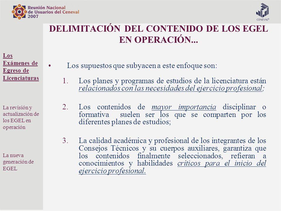 DELIMITACIÓN DEL CONTENIDO DE LOS EGEL EN OPERACIÓN...