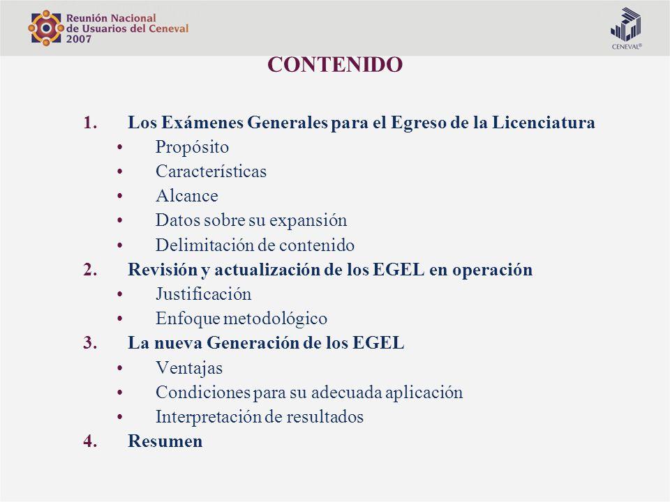 CONTENIDO Los Exámenes Generales para el Egreso de la Licenciatura