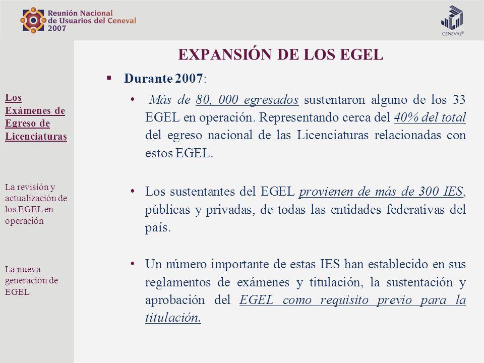 EXPANSIÓN DE LOS EGEL Durante 2007: