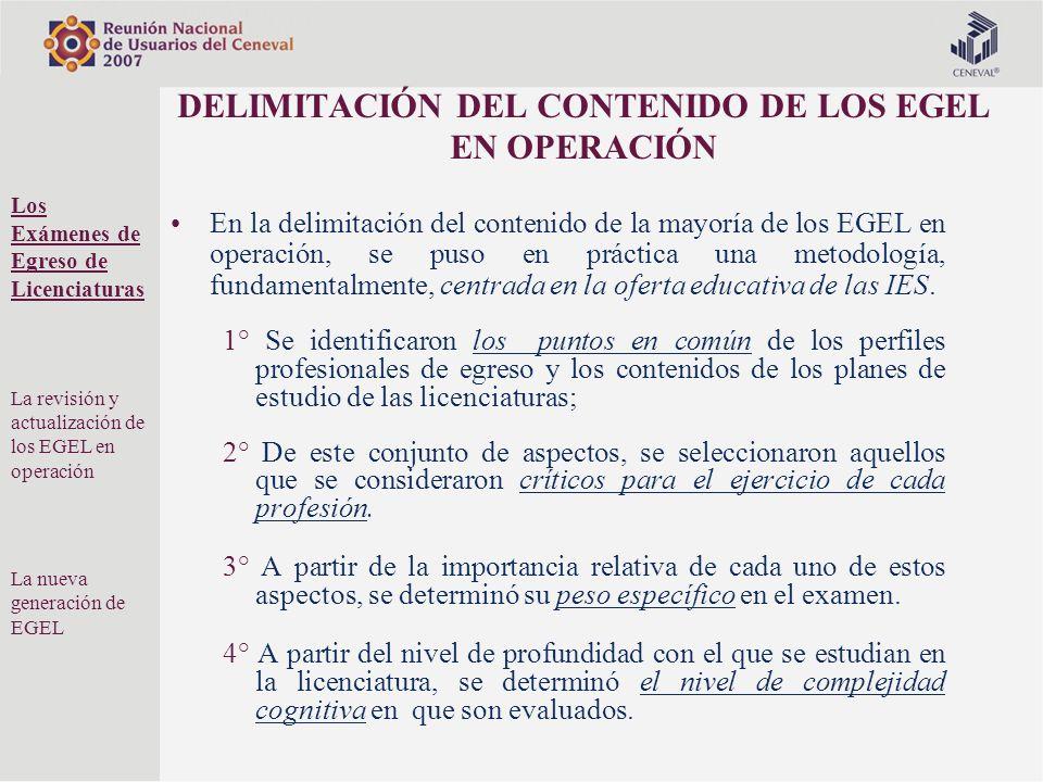 DELIMITACIÓN DEL CONTENIDO DE LOS EGEL EN OPERACIÓN