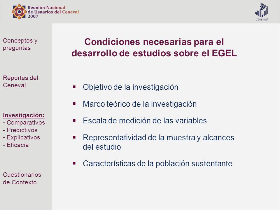 Condiciones necesarias para el desarrollo de estudios sobre el EGEL